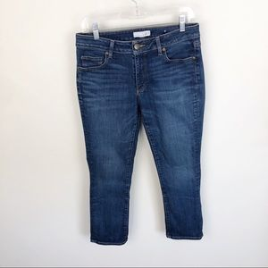 Loft Curvy Kick Crop Jeans Medium Wash Mid Rise 28
